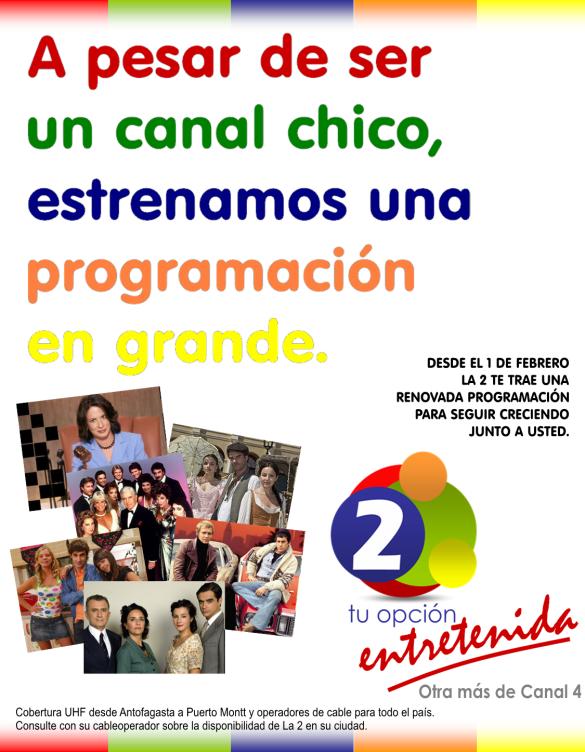 Afiche promocional nueva programación La 2